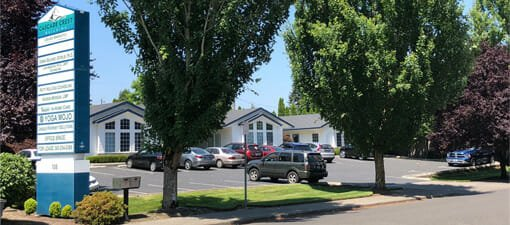 The exterior of Yoga Mojo & Movement Therapy studio located in Cascade Crest Business Park in Vancouver, Washington offering yoga classes to all of Clark County and the Portland, Oregon metro