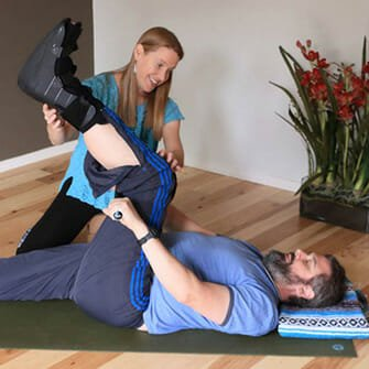 Karl comes to a yoga class in Vancouver, WA at Yoga Mojo & Movement Therapy to learn how to rehabilitate after his surgery